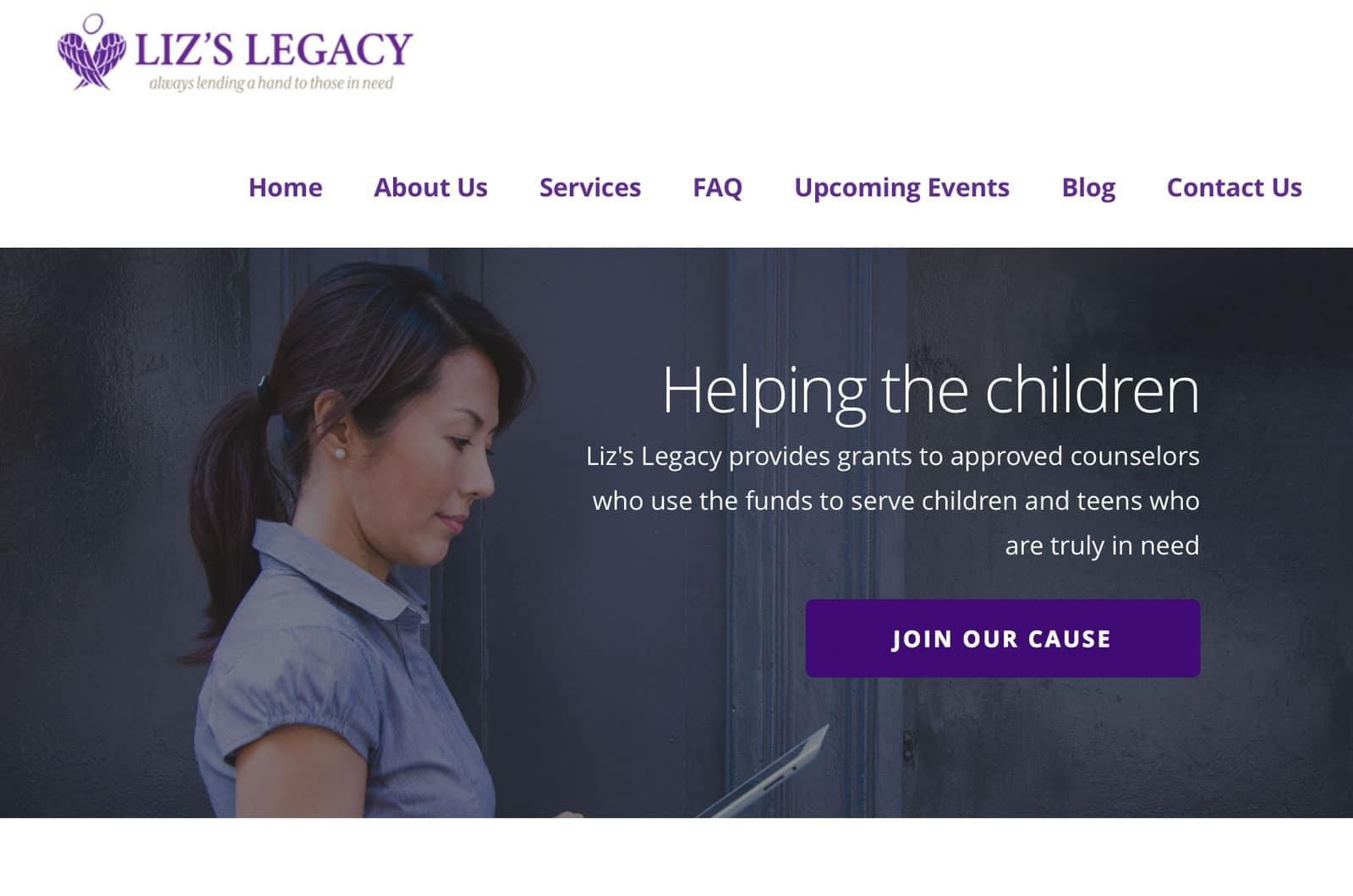 home page for lizlegacyfoundation.com
