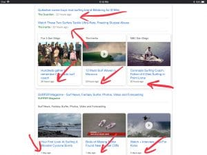 Google search results for surfing